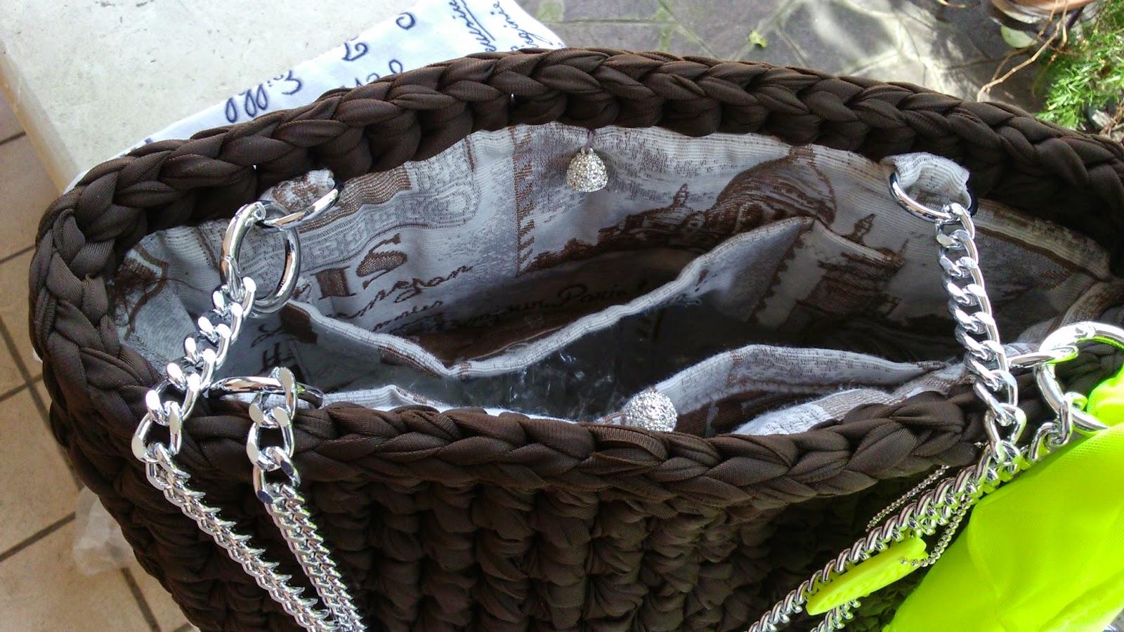 Borsa cotone lucido marrone base ecopelle panna