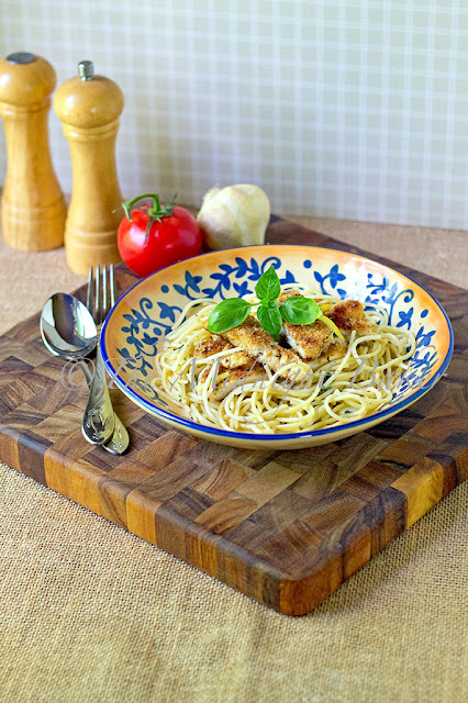 Parmesan Crusted Chicken w/Lemon Basil Pasta
