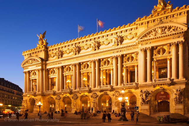 The exquisite facade of the Palais Garnier or Paris Opera House.