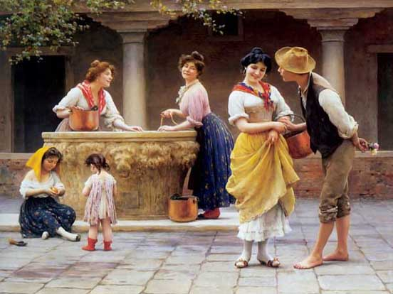 Women, Men, Children at Well, Natural Painting
