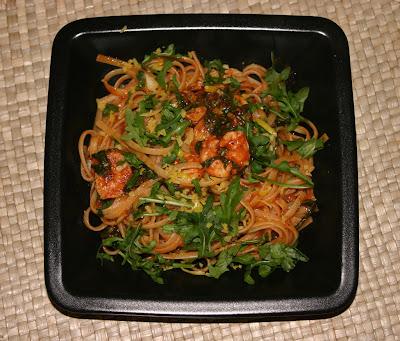 Espaghetti con Gambas y Rúcula