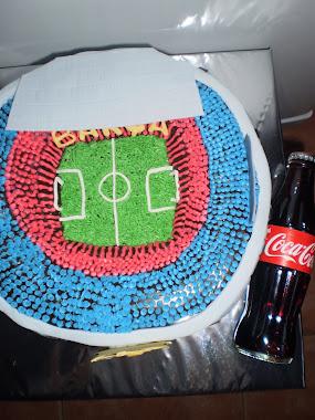 tarta de estadio de fútbol.