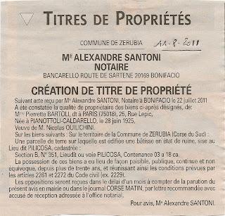 Création titre propriété Pierrette Bartoli