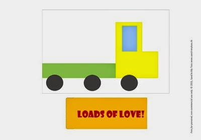 Free printable template for a Truck Valentine