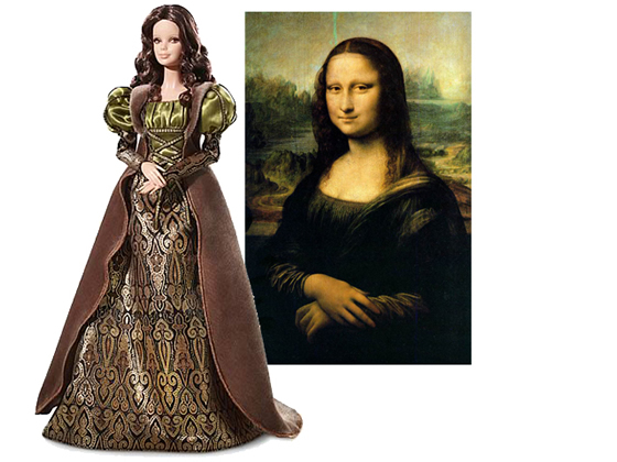 Barbie wearing famous paintings