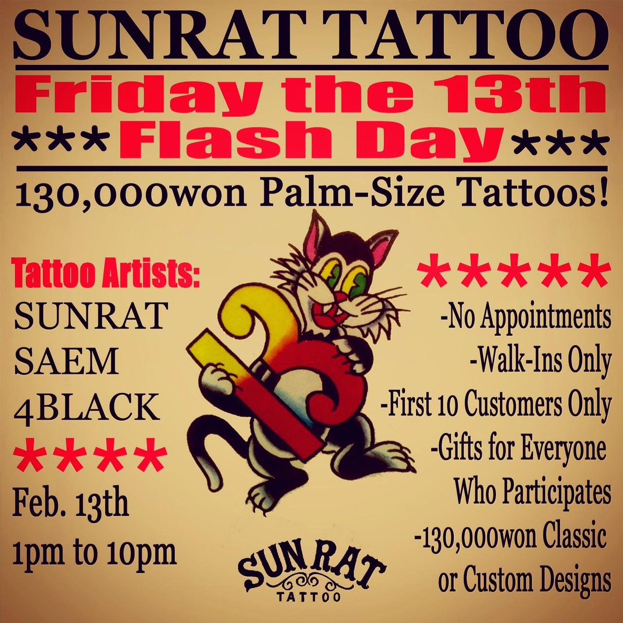 Sunrat tattoo now on google blogspot friday the 13th for Friday the 13th tattoo specials near me