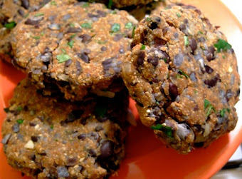Black Bean Patties with Spinach and Cashew Nuts