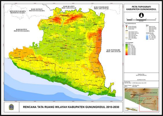 Jenis Peta Topografi Gunungkidul Gambar Pulau Jawa