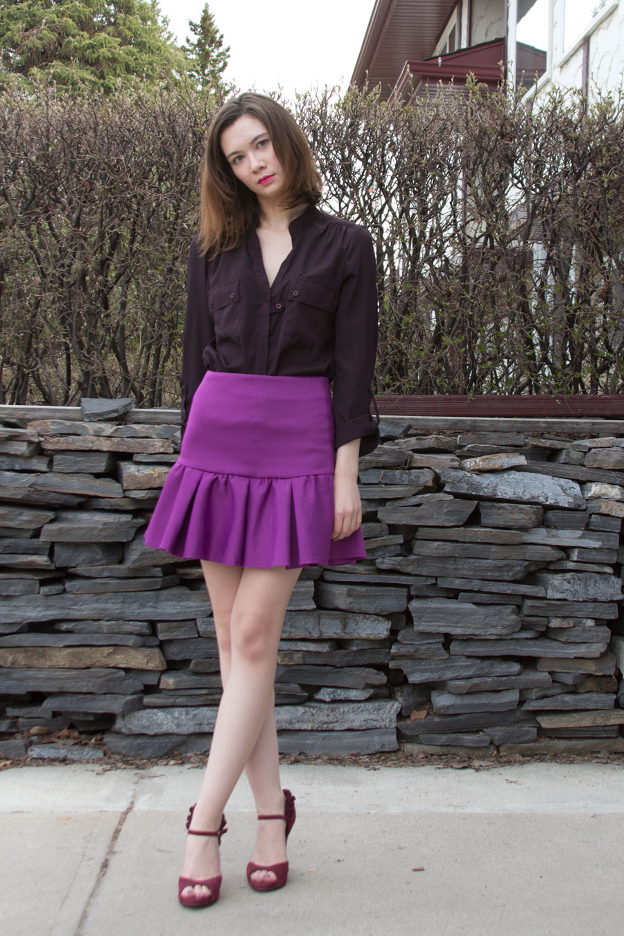 radiant orchid, scuba skirt, spring fashion, summer fashion, Lady Dutch, monochromatic outfit, ASOS, Pantone colour of the year, Fergie Shoes,