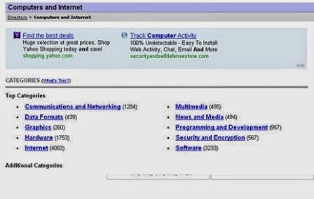 Yahoo directory categori