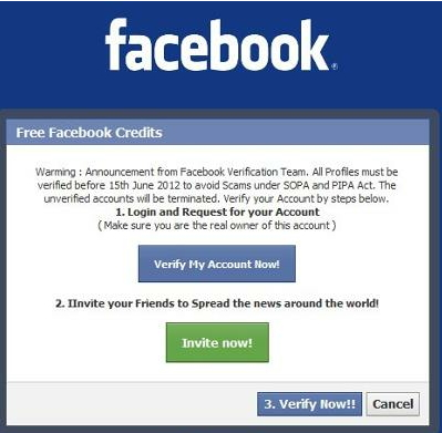 Facebook app Verify Account Scam Phising Malware