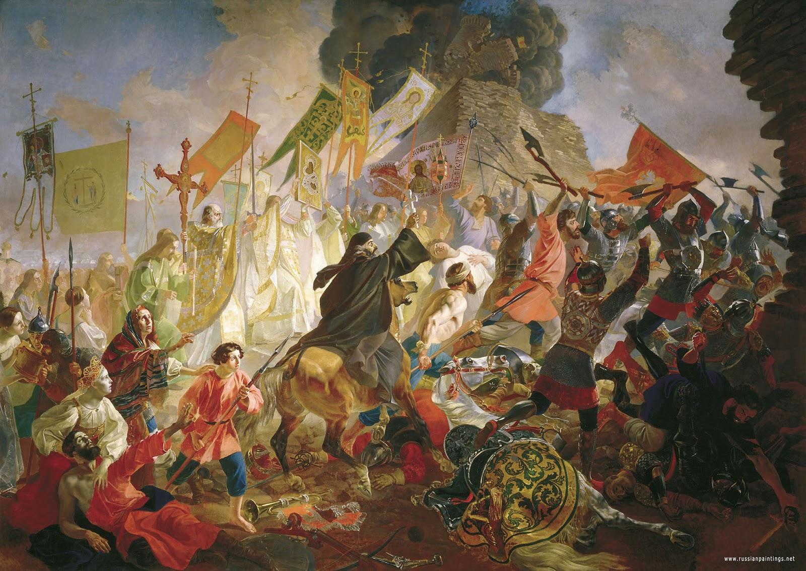 Karl   riullov  Siege  of  Pskov  by  Poland  King  Stefan   atoriy  in   C