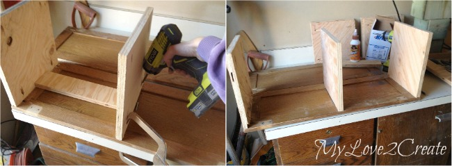 attaching bottom, shelf, and top of desk section with pocket holes