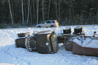 truck roll-over Maine turnpike