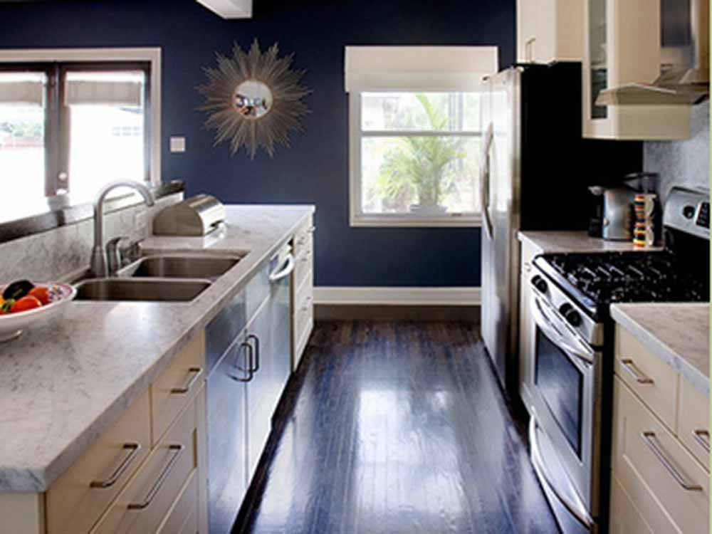 Furniture decoration ideas kitchen cabinets blue paint for Grey blue white kitchen