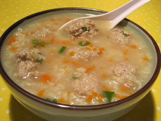 Pork Meatballs and Rice Soup