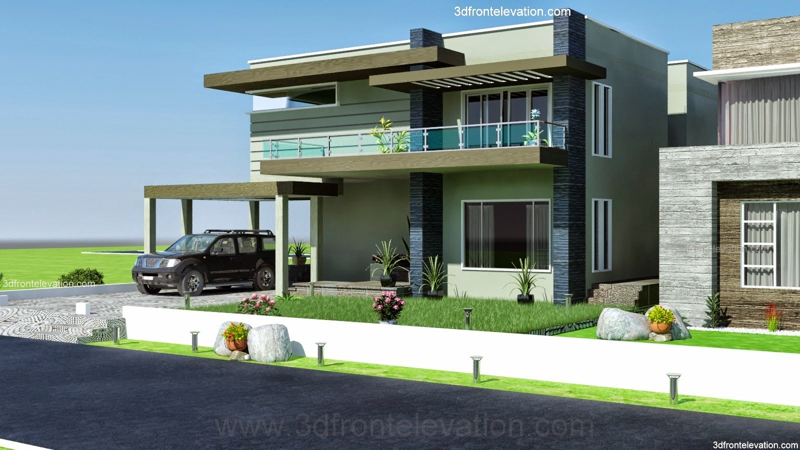 3d front 2 2 kanal dha karachi modern for Front elevation modern house