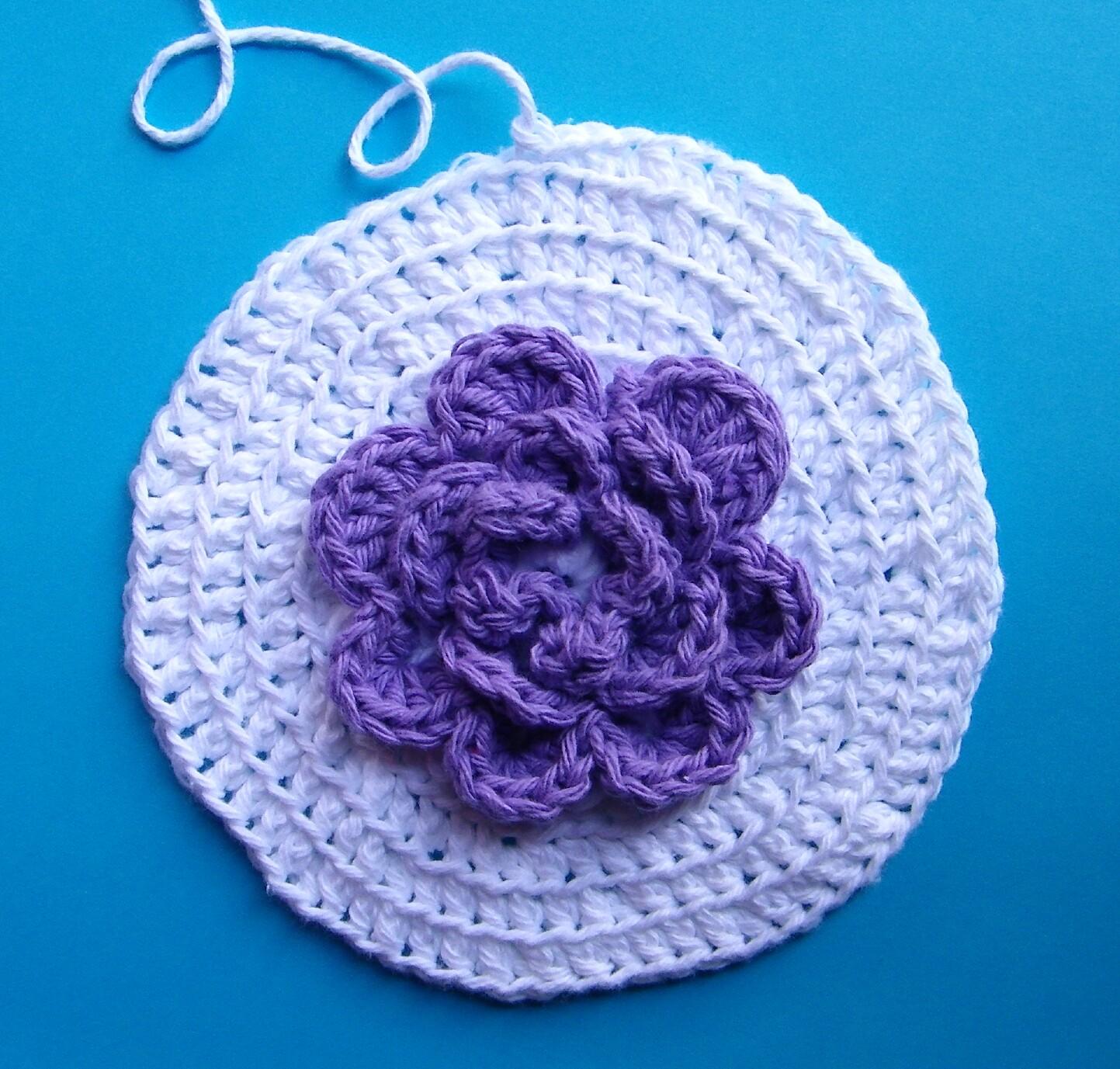 Вязание крючком прихватки с цветами 151
