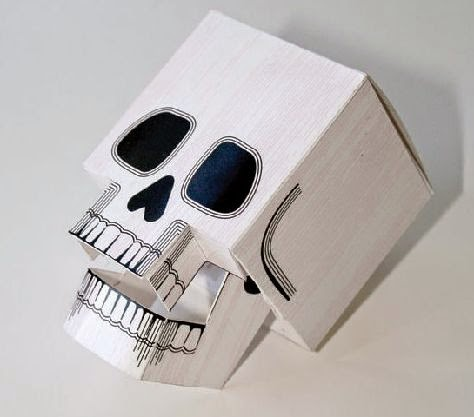 paper skull sculpture, paper skull origami, paper skull tutorial