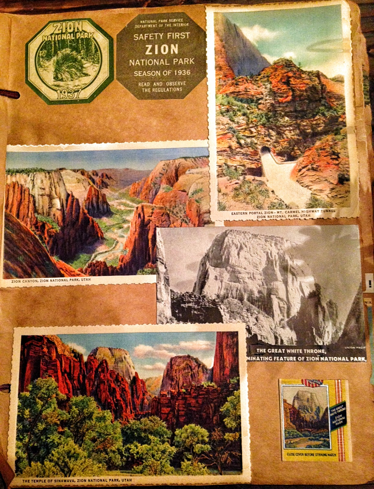 How to scrapbook a road trip - Here S The Page In A Little More Detail There S The Car Decal And A Couple Postcards Titled Eastern Portal Zion Mt Carmel Highway Tunnel
