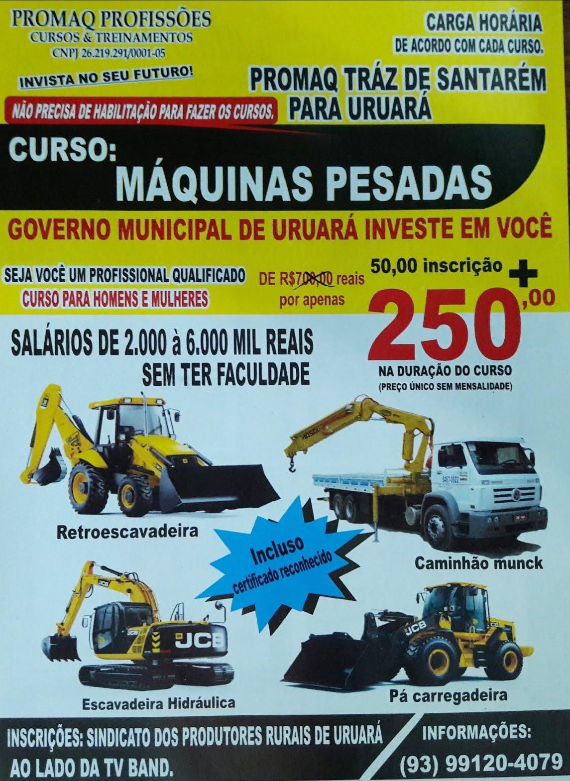 Curso para operador de máquinas pesadas em Uruará