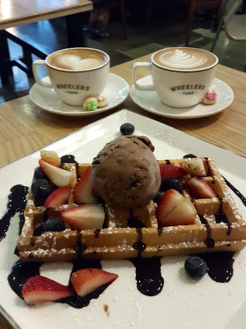 Waffle with Ice Cream and Berries at the Wheeler's Yard