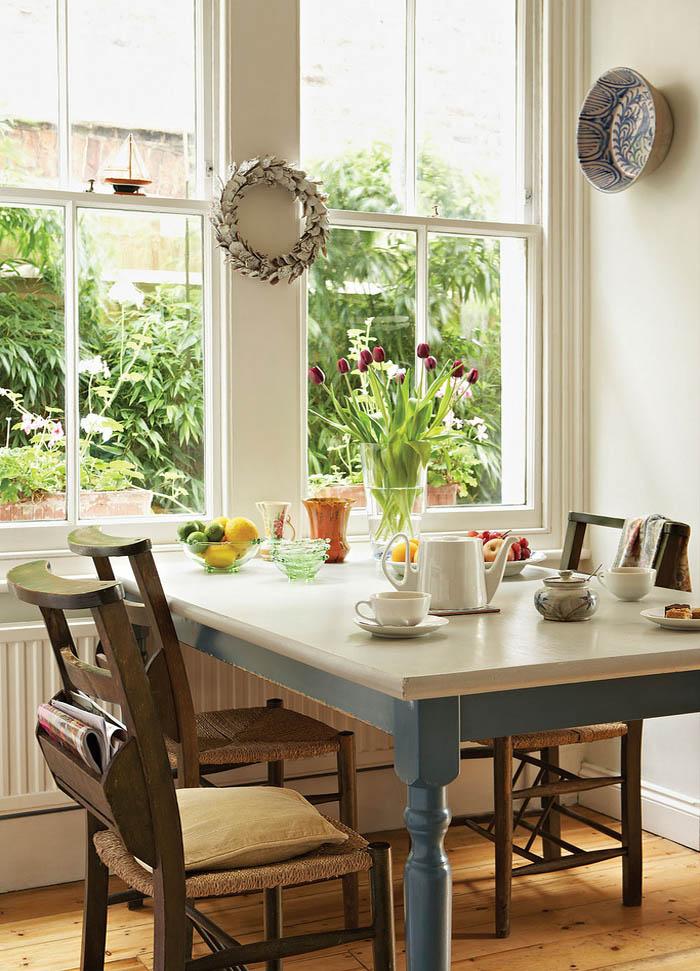 mesas de comedor-mesa de comedor  madera pintada