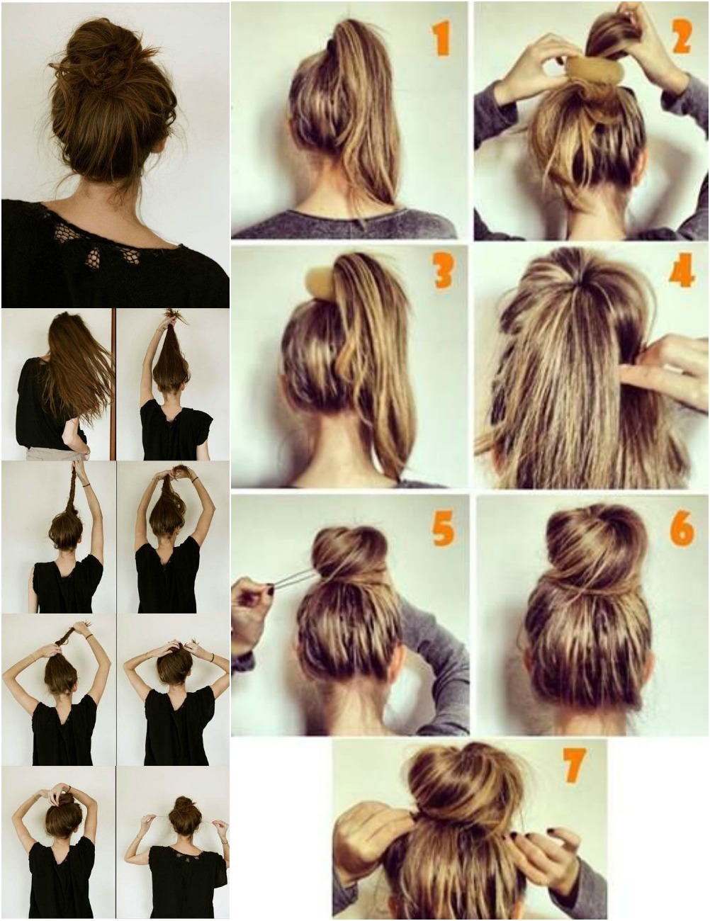 messy hair buns, top knot tutorial