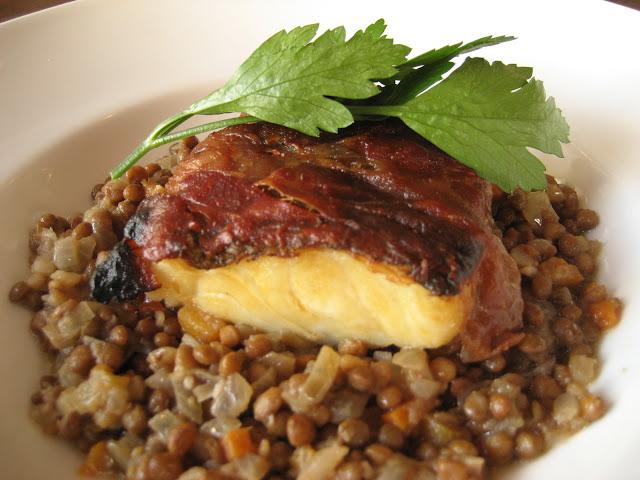 Cod in Parma Ham Pebble Soup