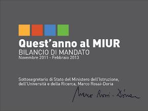 Le attività istituzionali svolte dal Sottosegretario Marco Rossi-Doria 2011/13