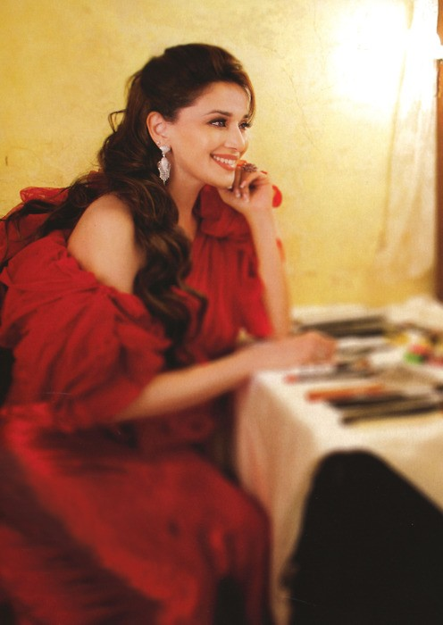 , Madhuri Dixit 2012 Cute Pic In Red Gown