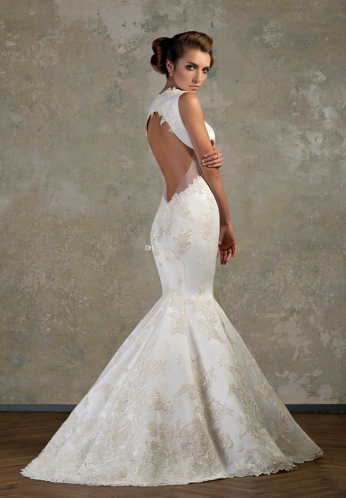 backless lace sexy mermaid wedding dresses ideas