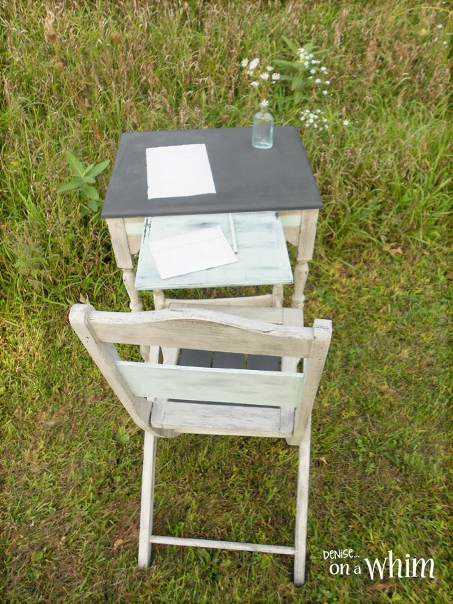 Antique Writing Table and Chair Makeover from Denise on a Whim