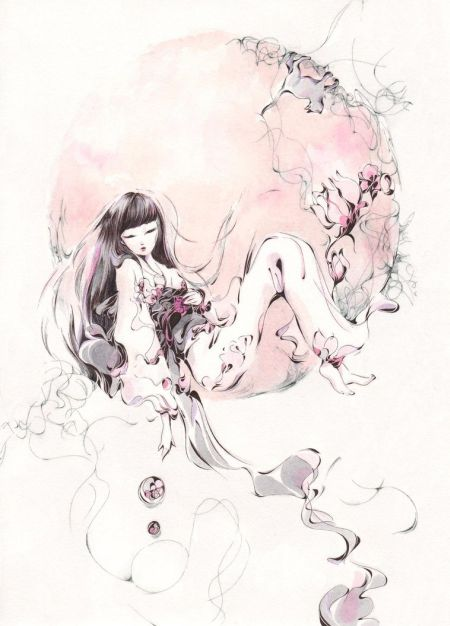 Charmal ilustrações mulheres garotas estilo anime mangá Lua cheia