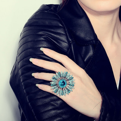 blue big rhinestone sunflower rings stretch
