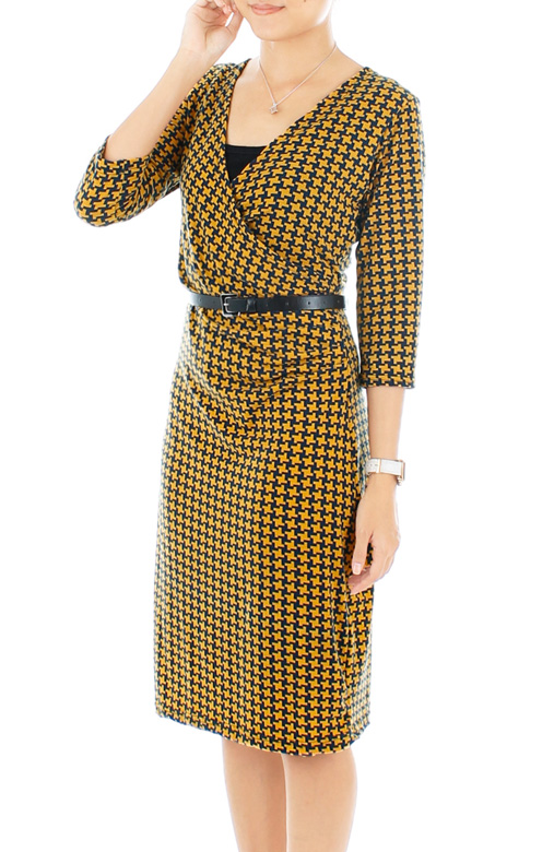 Midnight Blue & Yellow Houndstooth Wrap Dress with ¾ Sleeves