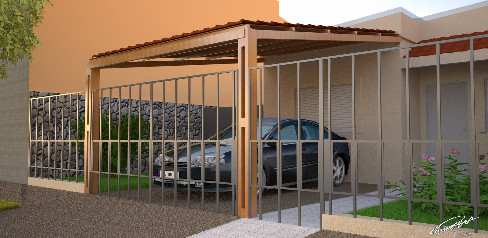 Chispas creativas garage abierto de madera y cubierta de teja - Garage de madera ...