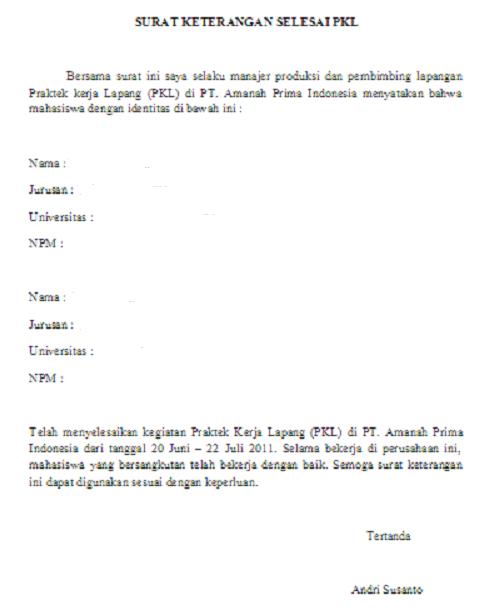 surat keterangan selesai pkl