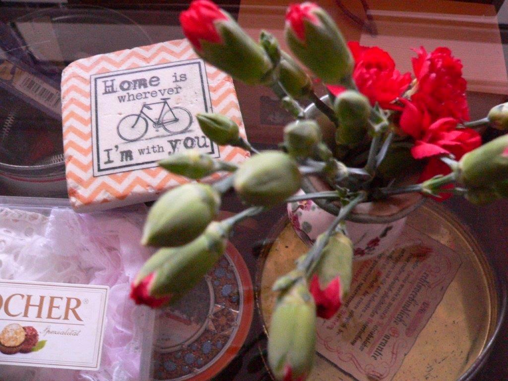 Glasuntersetzer Fahrrad Nelken Vase Wohnzimmertisch