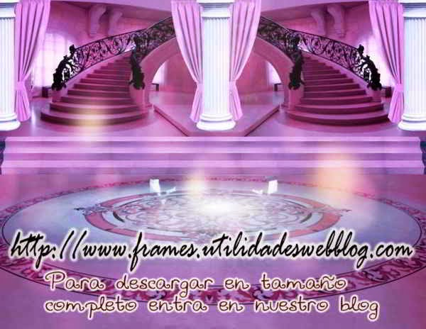 Bonitos fondos de lobby con escaleras para bodas, 15 años y comuniones color violeta