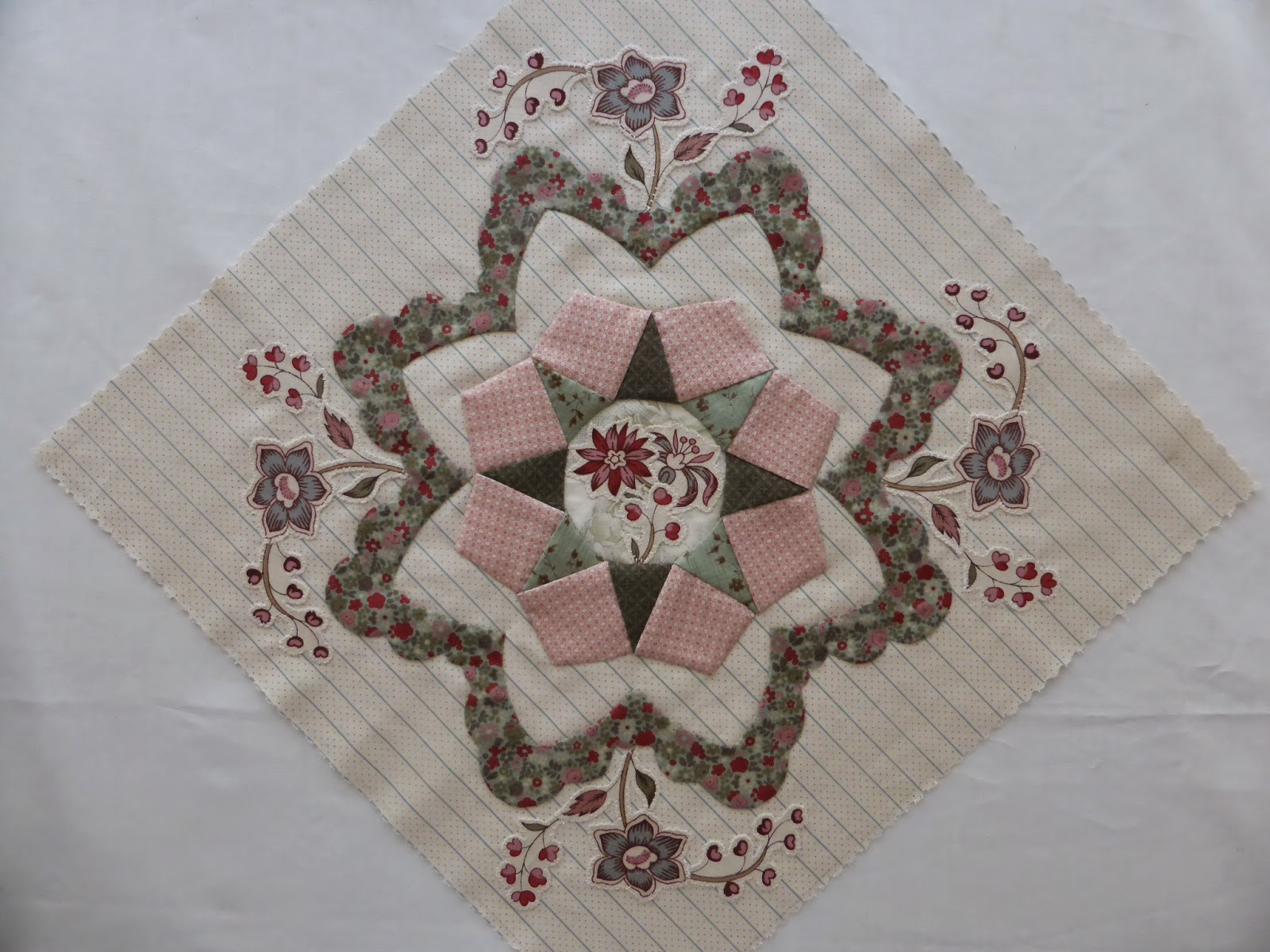 Antique Wedding Sampler quilt Di Ford Block #16