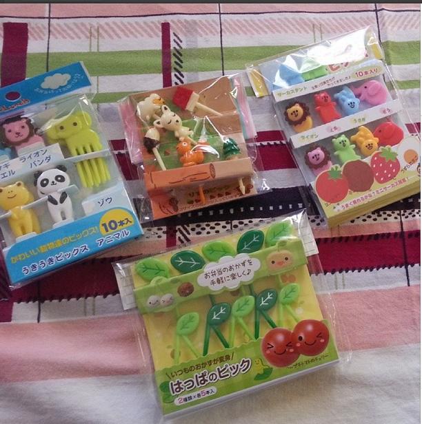 cute kawaii animal food picks leaves, circus, forest animals
