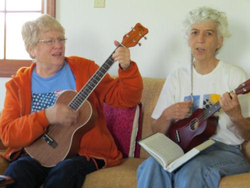 playing ukuleles