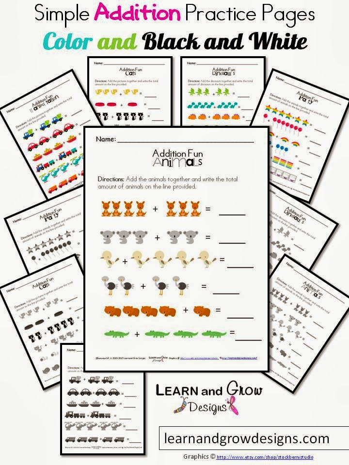 Learn and Grow Designs Website: Simple Addition Practice Pages ...