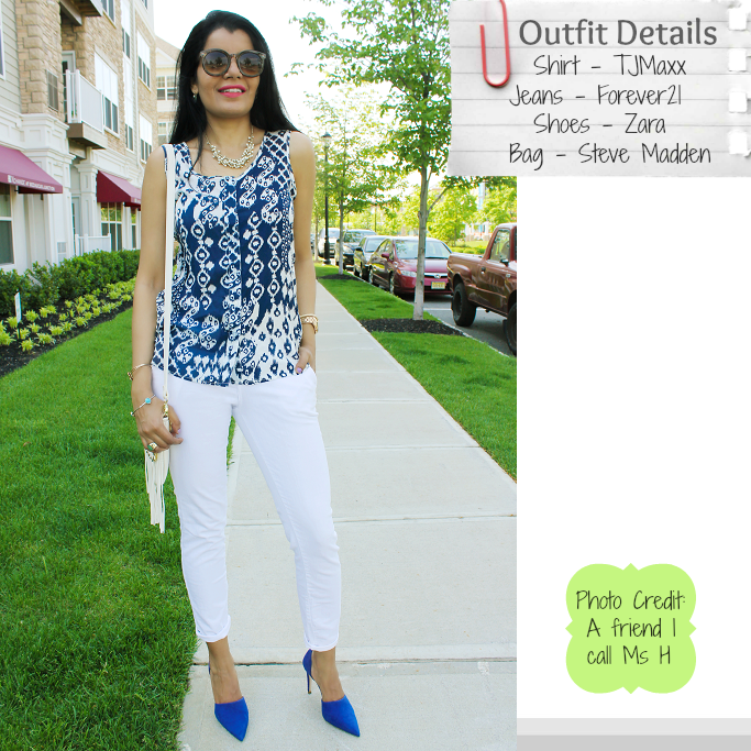 Blue Ikat Print Shirt, Ikat blouse, Ikat Print Top, Zara Blue Pumps, White Fringe Bag