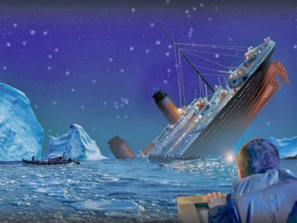 titanic sinking into sea