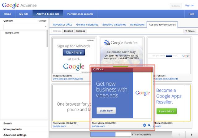 kontrol iklan yang akan tampil di website atau blog dengan menggunakan fitur baru google adsense