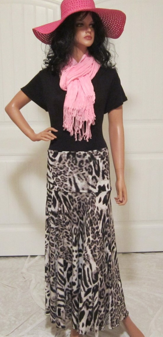 Lady's Grey and Ivory Maxi skirt in a Polyester Spandex blend