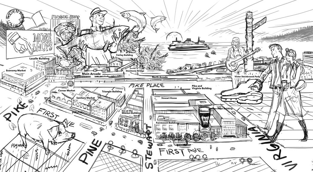 Joseph Laney Illustration Pike Place Market Map