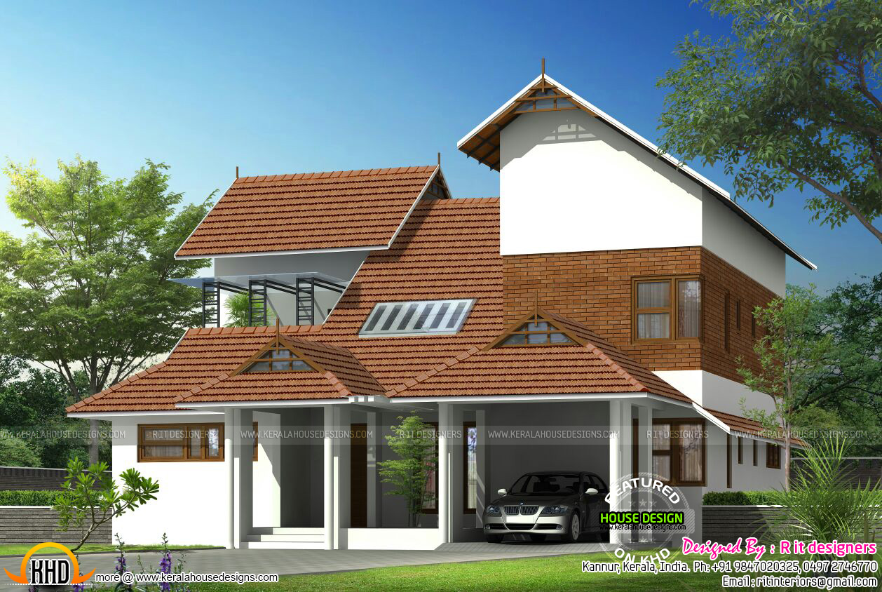 Modern mix sloped roof home kerala home design and floor for Sloped roof house plans in india